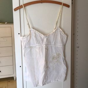 Anthropologie Floral White Lace Tank S